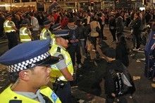 Fans spilled onto central Auckland streets as Rugby World Cup fever took hold. Photo / Sarah Ivey