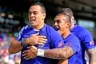 Samoa's Kahn Fotuali'i and Tusi Pisi. Photo / Getty Images