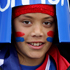 Samoan supporter Kiriffi Leilua gets into the spirit of things before the Rugby World Cup match between Wales and Samoa. Photo / Alan Gibson