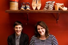 Helen Gould and Amber Easby share a love of footwear. Photo / Babiche Martens