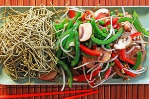 Soba noodle stirfry. Photo / Janna Dixon