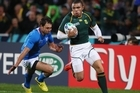 Bryan Habana of South Africa runs through to score their second try. Photo / Getty Images