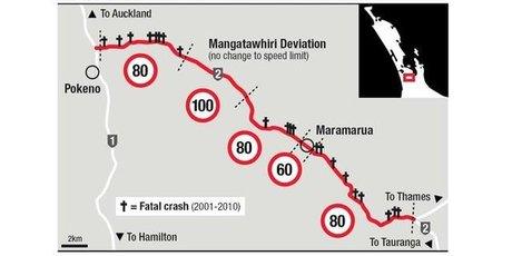 The proposed speed limit changes to SH2. Photo / Herald Graphic