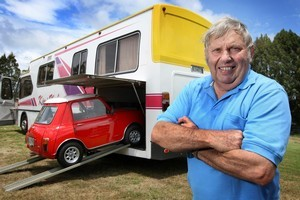 Lester Atherfold says his tiny car 'brings a smile to people's faces'. Photo / Alan Gibson