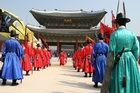 At the grand main gates of Gyeongbokgung Palace. Photo / Jim Eagles
