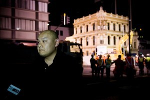 Michael Chow fronts up to the media as demolition crews move in to pull down the Palace Hotel, in Auckland's CBD last year. Photo / Dean Purcell