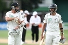 Chris Martin and Tim Southee of the Black Caps walk from the field at the end of the innings of day four of the second test match against Pakistan at the Basin Reserve in Wellington. Photo / Getty Images