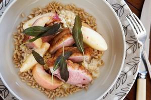 Duck, farro, crispy sage and peach salad. Photo / Babiche Martens