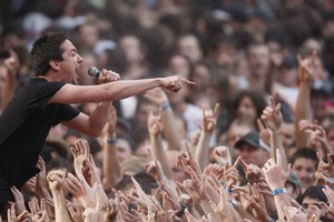 Jon Toogood from Kiwi rock royalty Shihad owned the main stage at Big Day Out. Photo / Richard Robinson