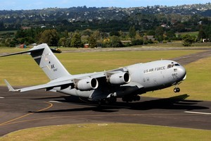 A US Air Force C-17 plane takes off from Whenuapai Air Base. Photo / Martin Sykes