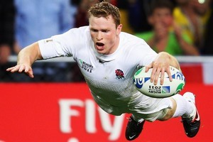 England's Chris Ashton pleased the fans when he took flight over the tryline. Photo / Getty Images