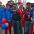 Tri-colour smurfs at Takapuna about to board bus before NZ v France match. Photo / Suresh Patel