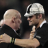 Richie McCaw with Jock Hobbs after being presented with a cap to mark his 100th test. Photo / Brett Phibbs
