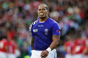 Alesana Tuilagi's branded mouthguard drew a $10,000 fine from the IRB. Photo / Getty Images