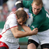 Andrey Kuzin of Russia tackles Keith Earls of Ireland. Photo / Christine Cornege