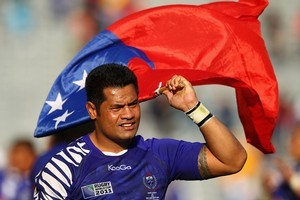 Captain of the Samoan rugby team and Wesley College old boy George Stowers. Photo / Getty Images