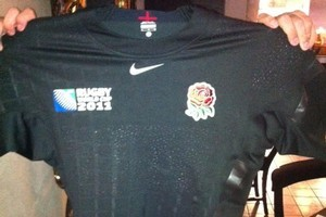 This black England jersey was stolen from the flat where Juan Manuel Leguizamon's brother was staying. Photo / Supplied