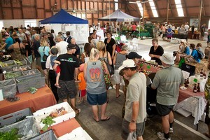 The farmers market at Hobsonville Point. Photo / Danielle Wright