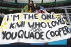 Quade Cooper supporters in Wellington. Photo / Mark Mitchell