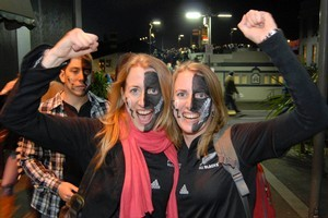 Emma and Sallie malpas celebrate after the All Blacks beat France. Photo / Michael Craig