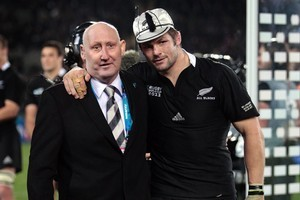 Back in Auckland, former All Black captain and Rugby Union chairman Jock Hobbs, who is fighting leukaemia, made a special appearance to present Richie McCaw with his 100th test cap. Photo / Sarah Ivey