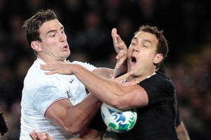 Louis Picamoles of France (left) and All Black Israel Dagg. Photo / Sarah Ivey
