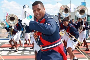 The Fiji Police Band entertained crowds at the Viaduct. Photo / Doug Sherring