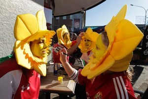 Welsh fans (from left) Laura Donovan, Richard O'Rien, Joe Merola and Elly Lesser make Taranaki's last World Cup match yesterday a day to remember.  Picture / Mark Mitchell