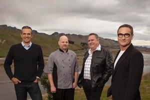 Josh Emett, guest Terry Lowe, Simon Gault and Ray McVinnie in Hawke's Bay. Photo / Alphapix