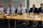 Feltex directors (from left) John Hagen, CEO Peter Thomas, chairman Tim Saunders, Peter David Hunter and John Feeney Photo /  Sarah Ivey