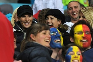 Zara watches the game last night with friends Heelan Tompkins and Bex Murray. Photo / Otago Daily Times