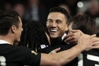 Sonny Bill Williams is congratulated by teammates after scoring last night. Photo / Sarah Ivey