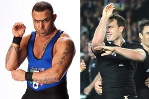 Here's Dagg after scoring (right) and former wrestling star Santino Marella. Photo / Supplied, Greg Bowker