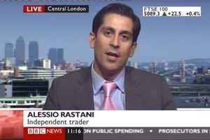 Trader Allesio Rastani told BBC World he goes to bed every night and 'dreams of another recession'. Photo / BBC World