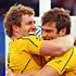 David Pocock of the Wallabies (left) congratulates teammate Ben McCalman after he scores their third try. Photo / Getty Images