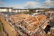 Construction of retirement units in Manukau, Auckland. Statistics NZ said today that 102 of the 179 apartments approved for construction in August were in retirement villages. Photo / Supplied