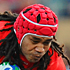 Paino Hehea of Tonga is tackled by William Servat (left) and Jean-Baptiste Poux of France. Photo / Getty Images