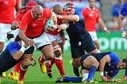Prop Soane Tonga'uiha of Tonga charges upfield. Photo / Getty Images