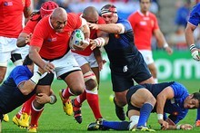 Prop Soane Tonga'uiha of Tonga charges upfield. Photo / Getty Images