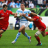 Juan Jose Imhoff of Argentina is tackled by Tedo Zibzibadze (R) and David Kacharava of Georgia. Photo / Getty Images
