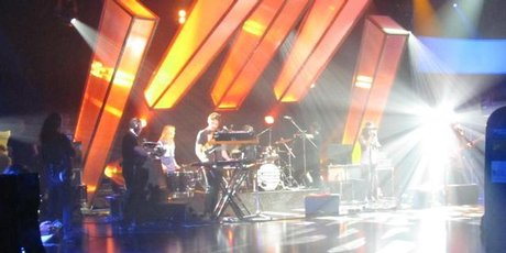 Pajama Club during a camera test on the set of <i>Later... with Jools Holland</i>. Phot