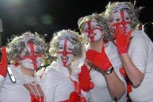 England fans Natasha Whitehead, Maree Blair, Charlie Wilson and Vicki Stock had plenty to celebrate. Photo / Michael Craig