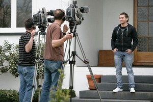Aaron Cruden fronts the media at home in Palmerston North yesterday after getting the World Cup call-up because of Dan Carter's injury. Photo / Kevin Bills