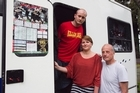 British visitors (from left) Jamie, Sophie and Cliff Ives lost precious mementoes when their campervan was ransacked. Photo / Paul Estcourt