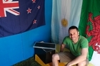 Justin's ready for the match with a grandstand view inside his shed. Photo / Richard Robinson
