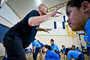 Choreographer Royston Maldoom takes students from Hay Park school through an energetic dance rehearsal. Photo / Supplied