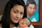 Cherize and baby Zekaiya with a photo of Hugh. Photo / Lisa Tauroa