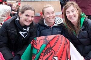 Georgina Gatenby, Jenny Jessep and Caitlin O'Shea at the Wellington City Fanzone. Photo / Justine Hall, Wellington City Council