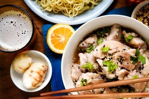 Chicken, galangal and lemongrass with noodles. Photo / Babiche Martens