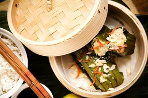 Chilli, candlenut fish mousse in banana leaf. Photo / Babiche Martens